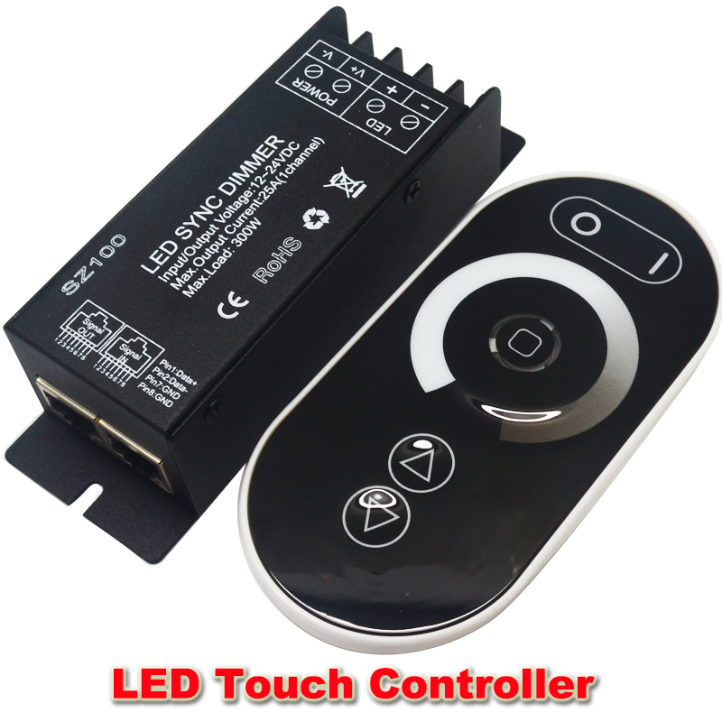 DC12V 24V Led  Touch  controller 1 Channel RF Wireless  25a 300w Led Dimmable Dimmer Remote Controller To Control Led Strip<br><br>Aliexpress