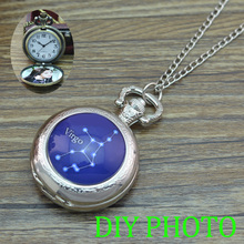 Twelve Zodiac Signs Pocket Watch Necklace 12 Constellations Necklace Jewelry SIlver pocket watch DIY personal photo Xmas present(China)
