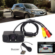 New 2 in1 DC 12V Night Vision Radar Reversing Car Rearview Buzzer Backup Parking Camera Kits High Quality Parking Sensors