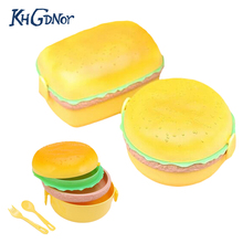 Double Tier Cute Children Hamburger Shaped Bento Lunch Box Food Container Storage with Fork Lunchbox for Kid School