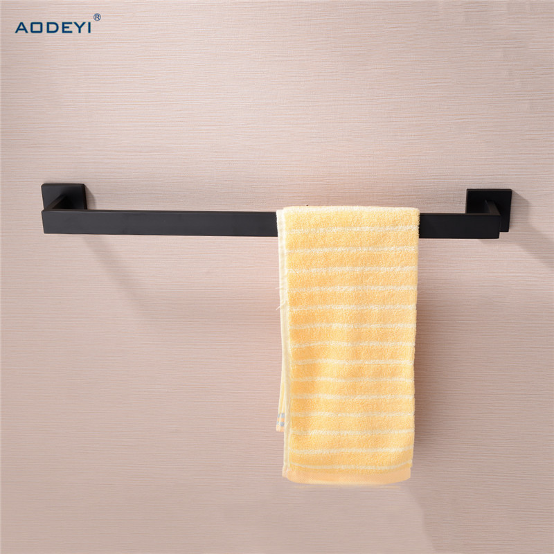 Matte Black Bathroom Single Towel Bar 304 Stainless Steel Wall Mount Towel Holder Rack Bathroom Accessories<br>