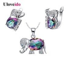 Uloveido Cheap Fashion Kids Jewelry Sets Animal Jewellery Sets for Women Crystal Jewelry Earrings Necklace Set Costume T485(China)