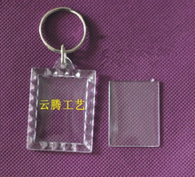 1000pcs/lot Mini Rectangular lace Transparent Blank Photo Picture Frame Key Ring Split Ring keychain Gift For Men Women