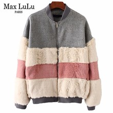 Max LuLu Famous Brand Designer Fashion Womens Bomber Jacket Striped Warm Outerwear Woman Winter Coat Faux Fur Clothing Plus Size