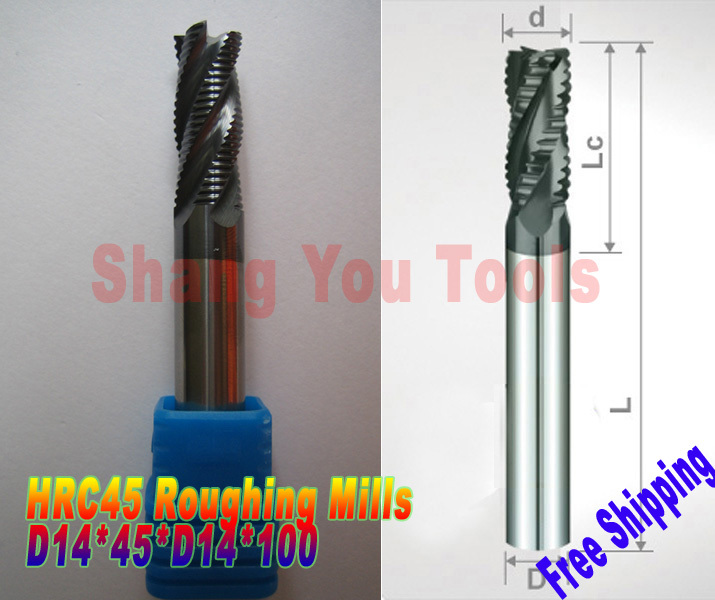 Free shipping-2pcs 14mm hrc45 D14*45*D14*100 4 Flutes Milling tools Mill cutter  Roughing End Mill CNC router bits<br>