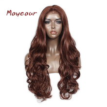 #27 Color Synthetic Lace Front Wig Long Natural Wave Lace Wigs for Fashion Women Heat Resistant(China)