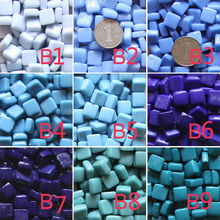 Diy Mosaic particles 200g for Home Garden ,DIY mosaic flowerpot /lantern ,Glass Marble mosaic beads Craft Square Mosaic tiles(China)
