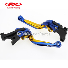 CNC Extending Folding Clutch Brake Lever One Pair Blue & Gold For Yamaha FZ16 2011-2015 2012 2013 2014 Motorcycle Parts