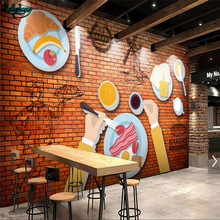 beibehang Large Custom Wallpaper 33D Brick Wall Western Restaurant Fast Food Restaurant Early Dairy Tea Tooling Background Wall