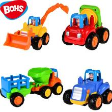 4pcs Push and Go Friction Powered Car Toys,Tractor, Bull Dozer truck, Cement Mixer, Dump truck Children Toy(China)