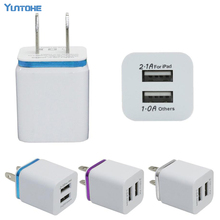Wholesale 200Pcs/lot 2A+1A US Plug AC Power Adapter Home Trave Wall 2 port dual USB Charger for iPhone 4 5 6 plus 7 Samsung HTC(China)