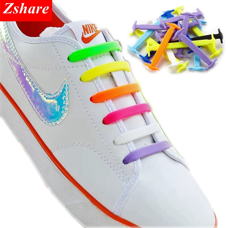 Lot 16PCS No Tie Shoelace Elastic Silicone Shoelaces For Walking Running Sneaker