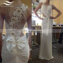 2015 Chiffon Floor Length Bow Sexy Elegant Mermaid Evening Dress 2017 Long Formal Evening Gown vestido de festa longo SL-E99