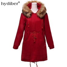 HYDIBER 2017 New Arrival Fur Collar Hooded Cotton Padded Coat Berber Fleece Midi Pattern Women Cotton Slim(China)