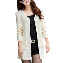 New Spring&Autumn Women Casual Long Sleeve Knitted Cardigans Autumn Crochet Ladies Sweaters Fashion Women Cardigan(China)