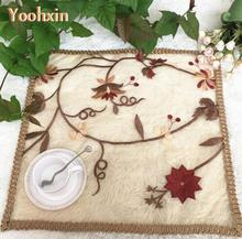 HOT brown embroidery table place mat lace pad cloth tea placemat cup drink doily mug holder Christmas coaster kitchen accessory(China)