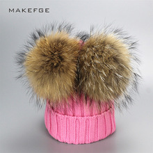 New 2017 Real Raccoon Fur Pompons Baby Hat Kid's Winter Thick Warm Beanies Knitted Crochet Lovely Bonnet For Boys Girl Cap(China)
