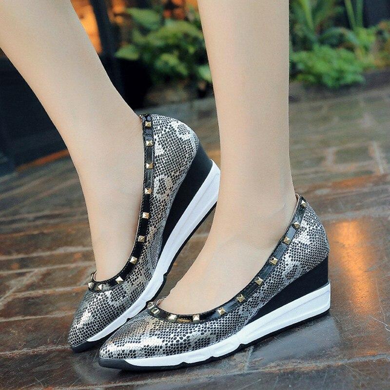 Brand Fashion Leopard Snakeskin Women Shoes Heels And Wedges Rivets Platform High Heels Pumps Designer Gold Shoes Women Luxury<br><br>Aliexpress
