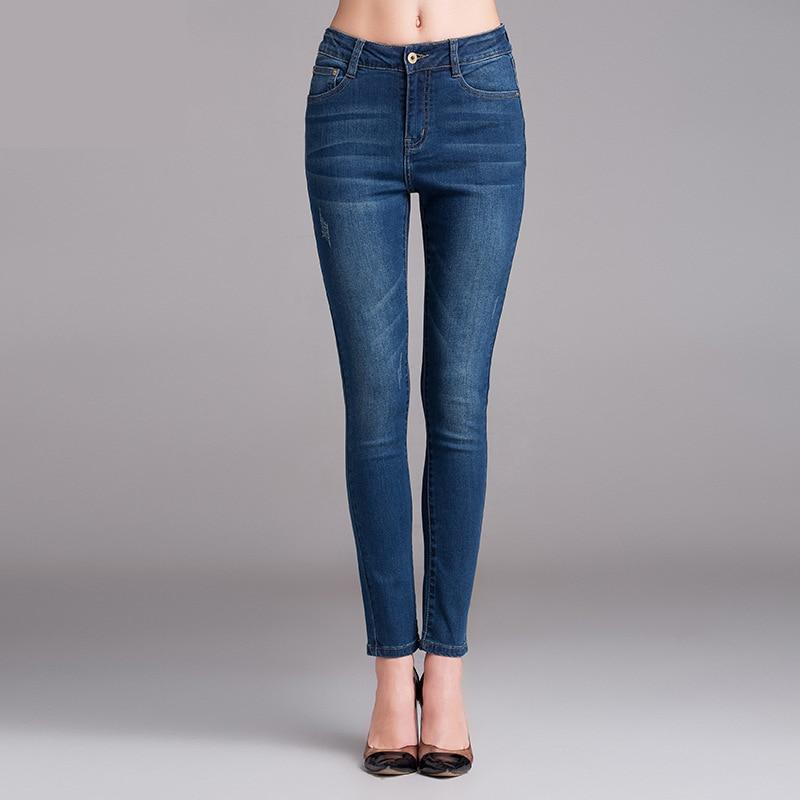 high quality Fashion Jeans female Pencil Elastic Slim Jeans Woman Denim Women High Waist Jeans Big For Women 14-15702Одежда и ак�е��уары<br><br><br>Aliexpress