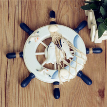 Newest!! Home Ornamental Nautical Wall Marine Decor Wood Pirate Ship Helm Wheel Home Living Room Wall Decorations Color Randomly(China)
