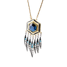 Nicandra Long Pendant Necklace Deep Blue Glass Hexagon Crystal Fringe Gold Silver