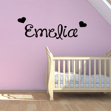 Hearts Custom Any Name Vinyl Art Wall Sticker Girls Name With Hearts Removable Wall Mural For Bedroom Decoration Y-585