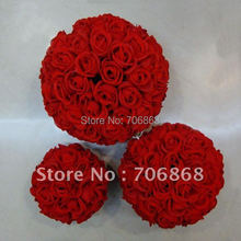 Free shipping 30cm*10 pcs Rose kissing ball artificial silk flower wedding decoration red color