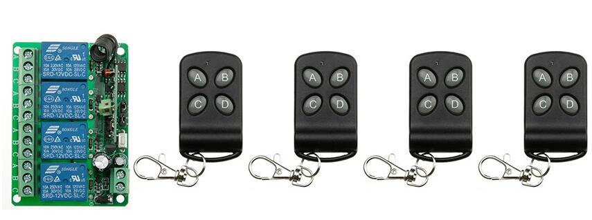 DC12V 4CH 10A wireless remote control switch system teleswitch 4X Transmitter + 1X Receiver relay smart house z-wave<br><br>Aliexpress