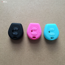 silicone car key cover to protect the skin for the Volkswagen Volkswagen Polo Golf Pasat Bora Jetta SKODA FABIA key 2 button(China)