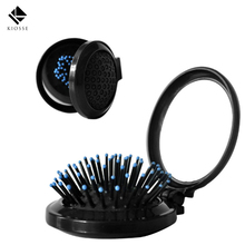 1Pcs Hot Selling Mini Volume Anti-static adjustable Hair Curl Straight Massage Comb Brush Styling Tools With Mirror A123(China)