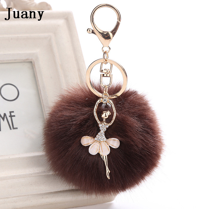 rabbit fur pompom key chain fake rabbit car keychain fur ball keychain pompom girl women charm bag  7