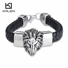 China Jewelry Supplier Kalen Men's Jewelry Cool  Stainless Steel Lion Head Charm Bracelet Fashion Handmade Leather Bracelet