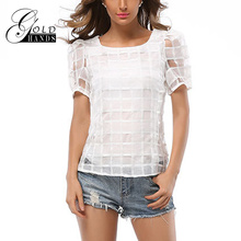 Gold Hands Summer Women Puff Sleeve Tees Chiffon Grid T-Shirts Black White Female Sexy Perspective Tops Short Sleeves Slim