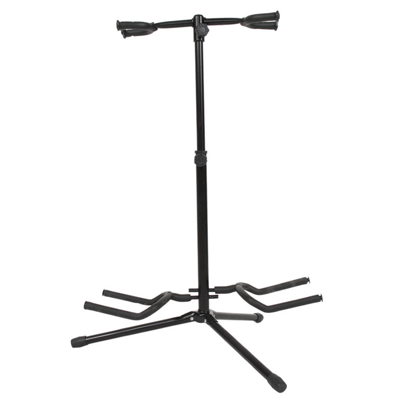 New Musician Dual Double Acoustic Electric Guitar Bass Stand Bracket Straight Lightweight But Strong More Durable<br>