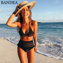 Buy BANDEA 2018 High Waist Bikini Sexy Lace Side Swimwear Halter Swimsuit Push Biquini Female Bathing Suit Brazilian Bikini Set