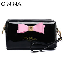 Euramerican style High grade Fashion Women Bag Candy Color PU Leather Bag Messenger Bag Clutch Bag Bowknot  Women Wallet