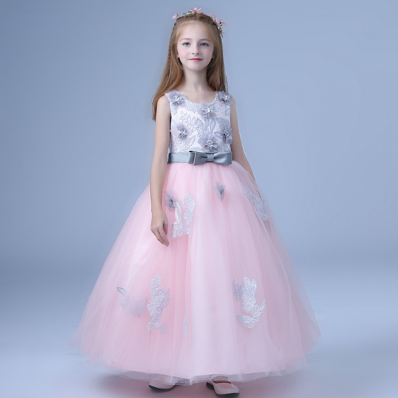 2018-New-Children-s-dress-princess-dresses-for-girls-teenagers-wedding-party-piano-clothing-long-flowers