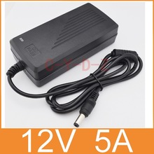 1pcs 12V5A AC 100V-240V Converter Adapter DC 12V 5A 60W Power Supply DC 5.5mm x 2.5mm for 5050/3528 LED Light LCD Monitor(China)