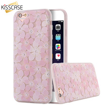 KISSCASE Pink Phone Cases For iPhone 6 6s Plus Women Girly Floral Glitter Rhinstone Case Soft TPU Slim Case Girl Sunflower Cover