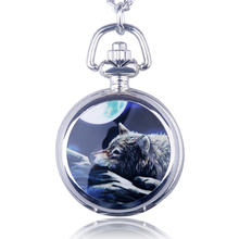 Fashion Casual Personality Wolf Pocket Watch Trumpet Ceramic Quartz Watch Cartoon Pocket Strap Chain Drop Shipping(China)