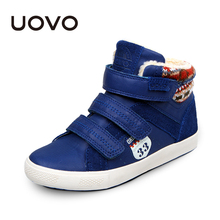 UOVO brand winter boys shoes fashion Faux fur lining big boys shoes for children boys flat rubber kids sneakers(China)