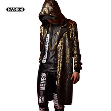 Custom Made Golden Crack Hooded Cloak Trench Coat Men Women Nightclub Stage Costumes Male Long Cardigan Coat Windbreaker Jacet(China)