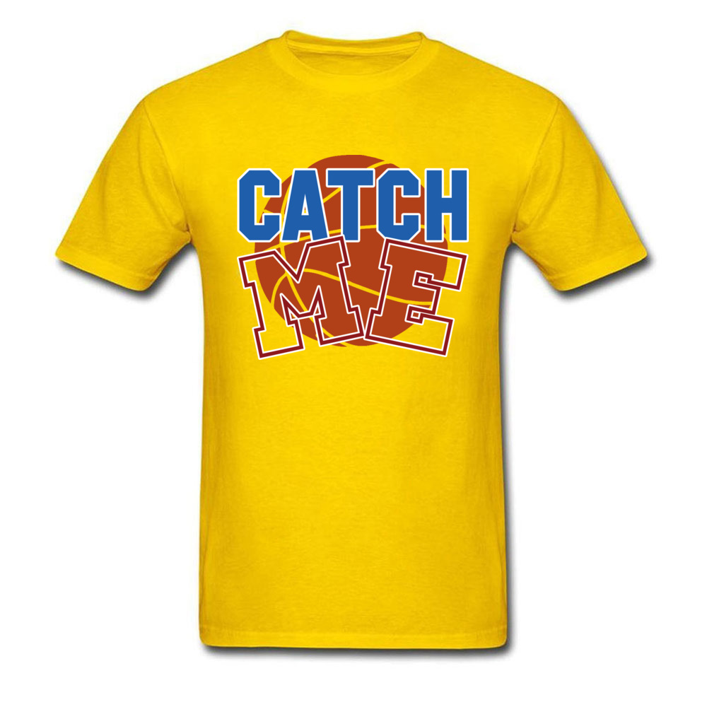 Basketball catch me 100% Cotton T-shirts for Men Short Sleeve Cool Tops T Shirt Funky April FOOL DAY O Neck T Shirts Custom Basketball catch me yellow