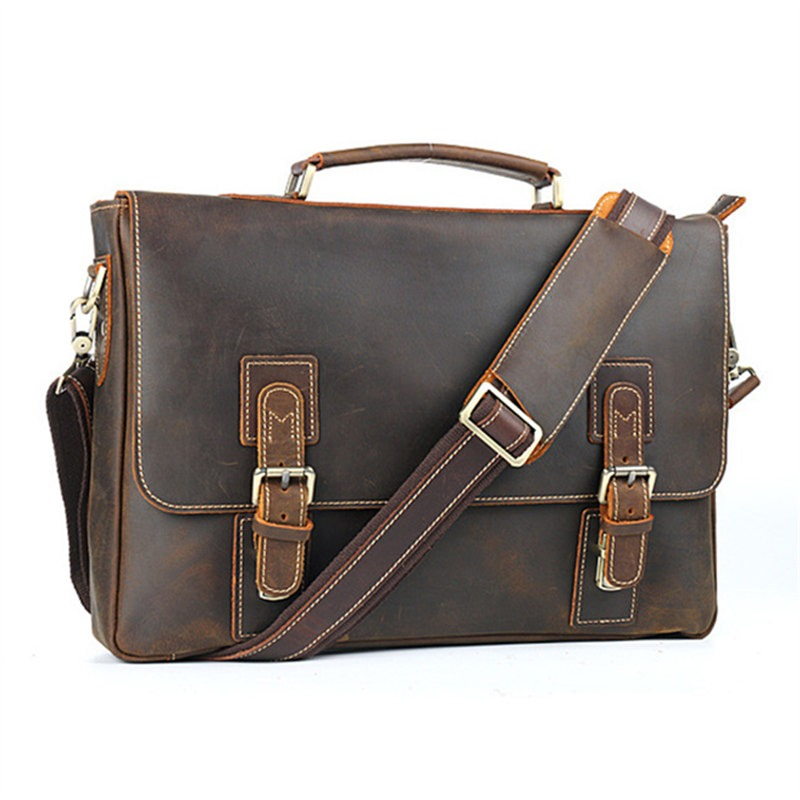 Men's Bags Nesitu New Vintage Coffee Red Blue Brown Black Genuine Leather 14 15.6 Laptop Women Men Backpacks Daypack Travel Bag M6434 Pretty And Colorful