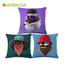 Actionclub Character Cushion Cover Home Decor Pillowcase Cartoon Linen Cotton Cool Pillowcases Hip Hop Candy Color Pillow Cover
