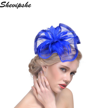 Fashion Summer Linen Fedora Hats Women Female Vintage Sinamay Fascinator Hat Cocktail Veiling Hair Headwear Lady Party Accessory(China)