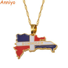 Anniyo Dominican Map Flag Pendant Necklaces Dominicans Country Map Jewelry Gold/Silver Color #076806(China)