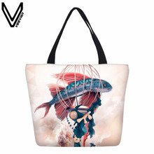 VEEVANV Women Handbags Fashion Colorful Fish Printing Shoulder Bags Female Shopping Bag Girls Bookbag New Design Canvas Tote Bag(China)