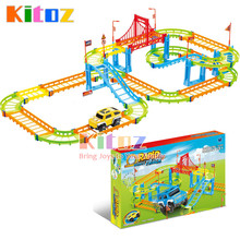 Kitoz Magical Slot Car Colorful Buildable Assembly Mini DIY Race Track Court Racetrack Auto Toy for Boy Children Not Glow With C