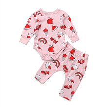 Newborn Baby Girls Clothes round neck Geometry Long Sleeve Bodysuit candies print Pants 2pc Toddler cotton kids autumn Outfits(China)